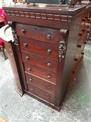 Sale 8868 - Lot 1060 - Early Victorian Mahogany Tall Chest of Six Drawers, originally with gallery, with carved brackets (some losses, some parts available)