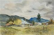 Sale 8865 - Lot 2020 - Yvonne Harris - Mt Knowles from Post Office Residence, Eurunderee near Mudgee 24 x 35cm