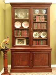 Sale 8925H - Lot 21 - An antique mahogany two-height bookcase with adjustable shelves and thick glass to doors, Height 230cm, Width 144cm, Depth 49cm,18cm...