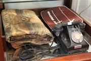 Sale 8340 - Lot 84 - Vintage Brocade Tapestry, Qantas Travel Bag & a Bakelite Telephone