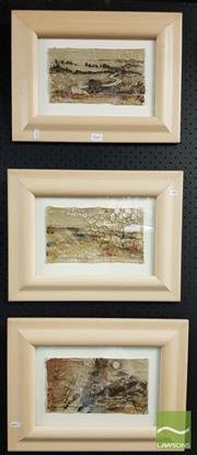 Sale 8474 - Lot 2065 - Artist Unknown (3 works) Abstract Landscapes, mixed media on canvas, frame size: 32 x 42cm, each, unsigned, each