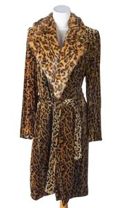 Sale 8550F - Lot 50 - A Princess Charlotte velvet leopard print silk blend 3/4 length coat with belt and faux fur collar, size 10.