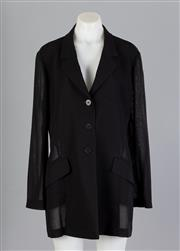 Sale 8661F - Lot 60 - A Barneys, New York black summer wool semi-sheer blazer, size 48/14.