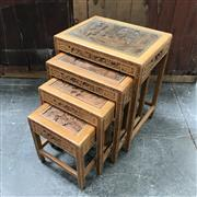 Sale 8699A - Lot 733 - Chinese Carved Hardwood Nest of Four Tables with glass insert tops, height 63cm