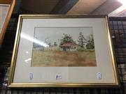 Sale 8720 - Lot 2054 - Grant Walker - Old House pen and ink with watercolours, 19 x 28cm, signed lower left
