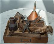 Sale 8745A - Lot 96 - A small group lot of antique tools inc. timber planes, copper funnel set square chisels and hammer