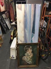 Sale 8771 - Lot 2083 - Group of (3) Assorted Artworks incl. landscape giclees and a vintage decorative print