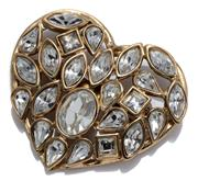 Sale 9029F - Lot 6 - A VINTAGE YVES SAINT LAURENT COSTUME BROOCH; heart shape set with oval, marquise, pear, and square shape white stones, size 52 x 46m...