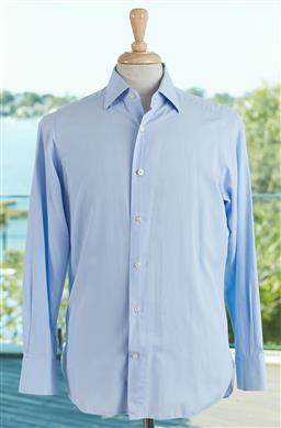 Sale 9120K - Lot 81 - An Ermenegildo Zegna Couture light blue linen button up long sleeved shirt. Size mens 38/39