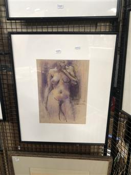 Sale 9152 - Lot 2050 - Paul Williams Standing Nude, pastel, frame: 60 x 50 cm, signed lower right -