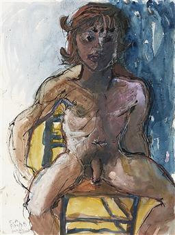 Sale 9195 - Lot 537 - DONALD FRIEND (1915 - 1989) - Portrait of Male Nude, 1988 76 x 56.5 cm (frame: 103 x 81 x 6 cm)