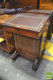 Sale 8390 - Lot 1070 - Victorian Mahogany Davenport, with toole leather top & fitted drawers, above a panel door enclosing a drawer & shelf