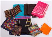 Sale 8550F - Lot 62 - A group of ten silk scarves and handkerchiefs, various makers in bright colours.