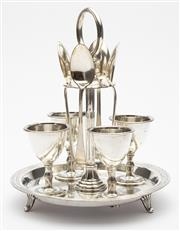 Sale 8620A - Lot 98 - An English Walker and Hall monogrammed silverplate egg stand, fitted with 4 egg cups and spoons, H 21cm