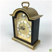 Sale 8649R - Lot 81 - Tempus Fuiole Brass Clock with Slate Sides Gilt Face Detail (H: 16cm)