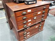 Sale 8714 - Lot 1061 - Late 19 / Early 20th Century Oak & Walnut small Plan Cabinet, in two sections & with eight drawers