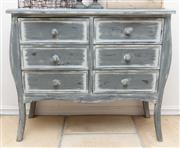 Sale 8866H - Lot 2 - A French style six drawer chest en grisaille, Height 80cm, Width 94cm, Depth 40cm