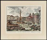 Sale 8934H - Lot 97 - After Piranesi, two hand coloured engravings, Veduta del Ponte e Castello SantAngelo; Veduta della Piazza della Rotonda, frame size...