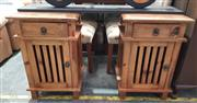 Sale 8934 - Lot 1072 - Pair of Timber Bedsides with Single Drawer & Door