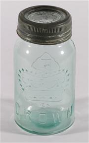 Sale 9003G - Lot 627 - Vintage Canadian lidded jar embossed with a crown (H18cm)
