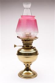 Sale 9070 - Lot 36 - A Brass Kerosene Lamp With Glass Shade H: 42cm