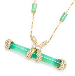 Sale 9123J - Lot 35 - A CHRYSOPRASE AND DIAMOND NECKLACE; featuring an approx. 60 x 7.5mm half round chrysoprase bar with 18ct gold fittings pave and chan...