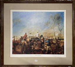 Sale 9139 - Lot 2088 - Hugh Sawrey Yarding the Scrubbers, 1982, photolithograph, ed 401/850, frame: 66 x 72 cm, (no glass) signed and dated lower right -