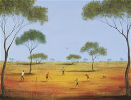 Sale 9170A - Lot 5032 - KYM HART ( 1965 - ) Afternoon Cricket oil on board 29.5 x 39.5 cm (frame: 46 x 55 x 2 cm) signed lower right