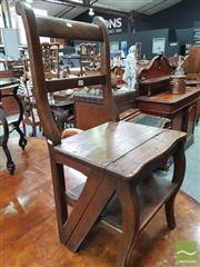 Sale 8416 - Lot 1099 - 19th Century Oak Metamorphic Library Chair, converting into steps, with rail back