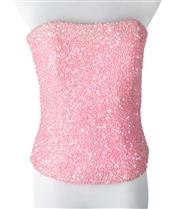 Sale 8550F - Lot 51 - A Christopher Essex sherbet pink beaded bustier, size S.