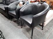 Sale 8680 - Lot 1035 - Pair of Leather Upholstered Tub Chairs