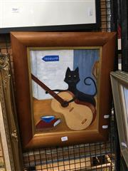 Sale 8720 - Lot 2067 - Peter Bastaja - Cat Playing Guitar oil on board 34.5 x 26cm, signed and dated lower left