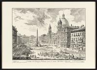 Sale 8934H - Lot 98 - A pair of engravings of Rome, Campidoglio con Salinata and Piazza Navona, frame size 52cm x72cm