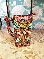 Sale 8500A - Lot 82 - A collectible antique tulip majolica jug/pitcher , marked 673- Condition: Very good - Measurements: 21cm high x 11cm wide