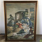 Sale 8649R - Lot 32 - Large Print Tapestry of a Carriage Scene (136 x 107cm)