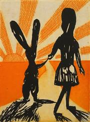 Sale 8656 - Lot 518 - Charles Blackman (1928 - 2018) - Alices Farewell 26.5 x 19.5cm