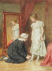 Sale 8821 - Lot 588 - George Goodwin Kilburne (1839 - 1924) - Dress Fitting 36 x 26cm