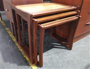Sale 8984 - Lot 1078 - G-Plan Nest of Three Teak Tables with Cork Inlaid Top