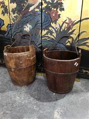 Sale 8988 - Lot 1009 - Pair of Rustic Oriental Well Buckets (H: 39 x D: 32cm)