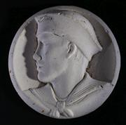 Sale 9003 - Lot 96 - Unusual Circular Plaster Bas Relief Plaque of a Sailor (Dia 9cm)