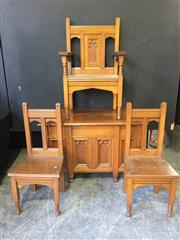 Sale 9031 - Lot 1012 - Early 20th Century Oak Ecclesiastical Office Desk, with gothic tracery panels TOGETHER with a clerics armchair & two side chairs