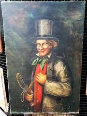 Sale 9058 - Lot 2013 - John Peel, Portrait of a Hunter - Ambrose Palmer, Oil on canvas, Signed Lower Centre, 92 x 62cm