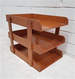 Sale 9121 - Lot 1042 - Timber three tier desk top filer (h:30 w:35cm)