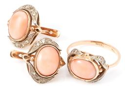 Sale 9149 - Lot 400 - A RUSSIAN 14CT ROSE GOLD CORAL AND DIAMOND RING AND EARRINGS SUITE; ring millegrain set with an oval cabochon pink coral surrounded...