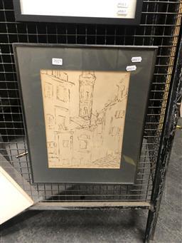Sale 9147 - Lot 2014 - Desiderius Orban Firenze, sketch felt pen on paper, frame: 46 x 36 cm, signed lower left -