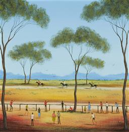 Sale 9170A - Lot 5058 - KYM HART ( 1965 - ) Three Horse Race oil on board 39 x 39 cm (frame: 57 x 57 x 4 cm) signed lower right
