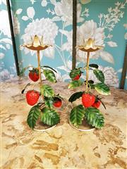 Sale 8500A - Lot 83 - A pair of vintage French tole strawberry candle holders - Condition: Excellent - Measurements: 23cm high