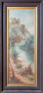 Sale 8625A - Lot 7 - An Edwardian landscape in a moulded frame, 92 x 31cm, some scratches.
