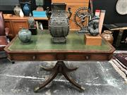 Sale 8699A - Lot 747 - Victorian Style Centre Console Table with tooled green leather insert top above two drawers, width 127cm