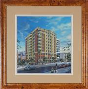 Sale 8888 - Lot 2034 - Ross Hewett - North Sydney Street Scene and Landmark Building 50 x 45 cm